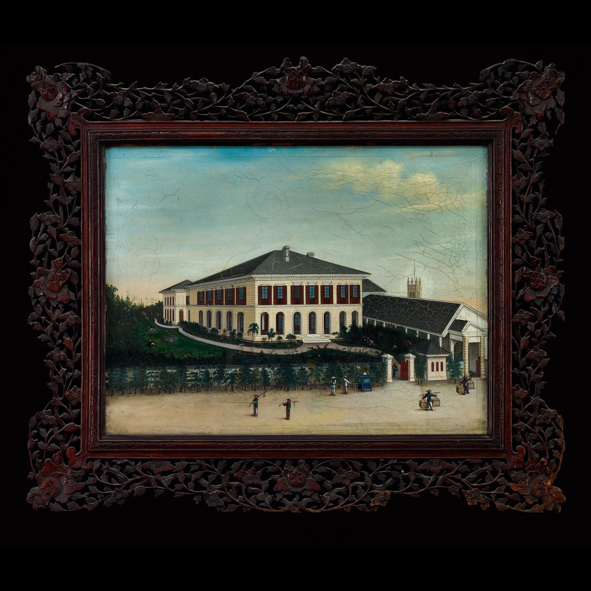 View full screen - View 1 of Lot 180. Chowkwa (fl. 1850-1880) or His Studio, circa 1860-1865 Foreign Establishment on the Bund at Shanghai | 周呱(活躍於1850-1880年)或其工作室 約1860-1865年  上海外灘外國商館圖 布本油畫 鏡框.