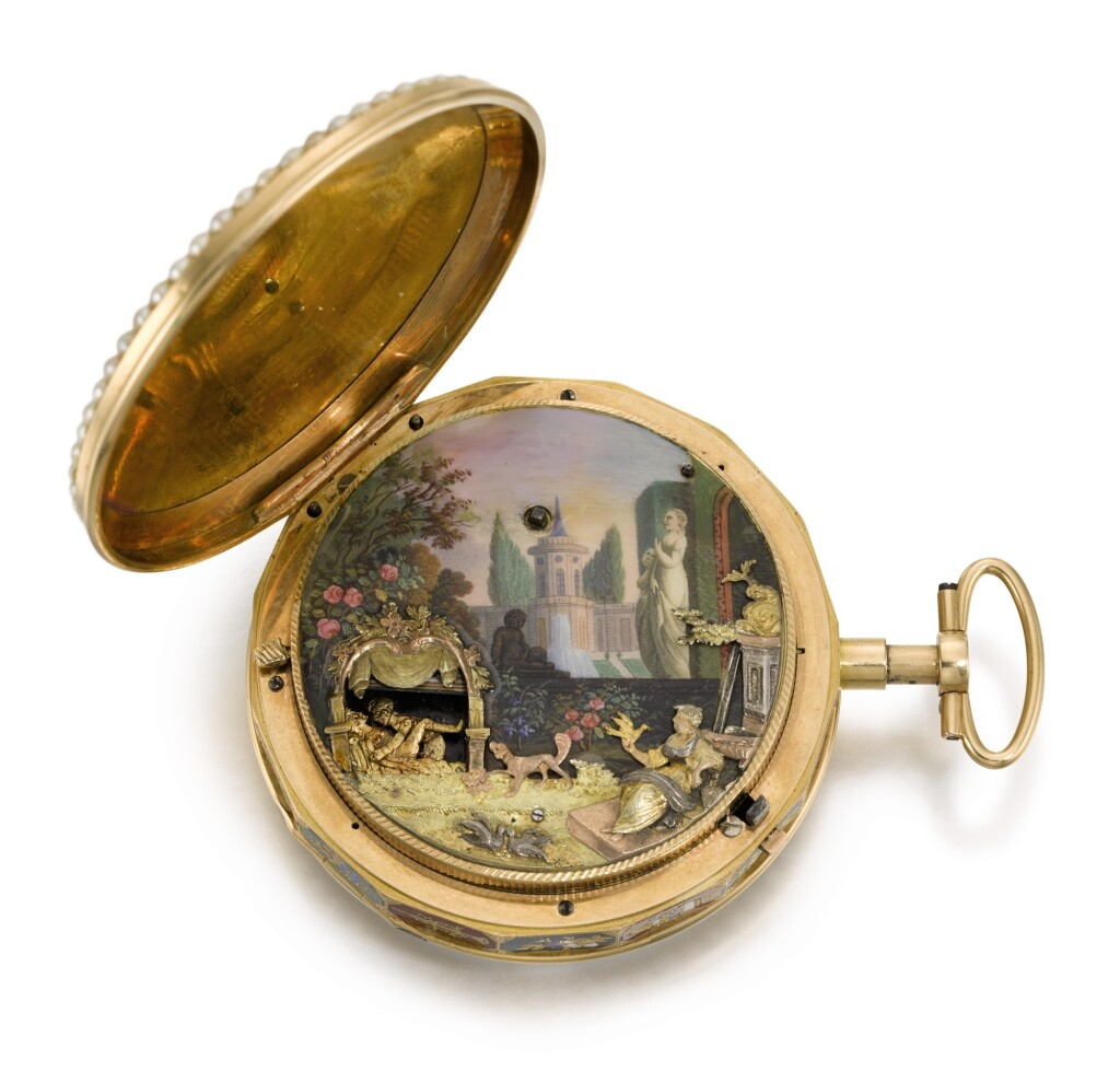 'THE GARDEN THEATRE'  SWISS | A RARE GOLD, ENAMEL AND PEARL-SET QUARTER REPEATING AUTOMATON WATCH WITH CONCEALED EROTIC SCENE FOR THE CHINESE MARKET  CIRCA 1800