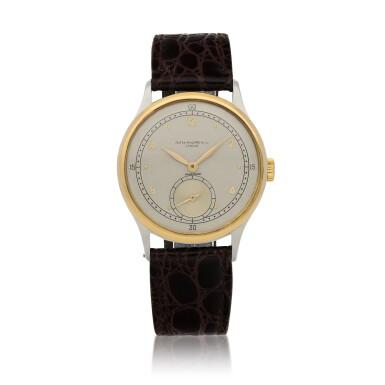 View 1. Thumbnail of Lot 52. Retailed by Hausmann: Ref. 530 Stainless steel and yellow gold wristwatch Circa 1942 | 百達翡麗|零售商為Hausmann:530型號精鋼及黃金腕錶,年份約1942.