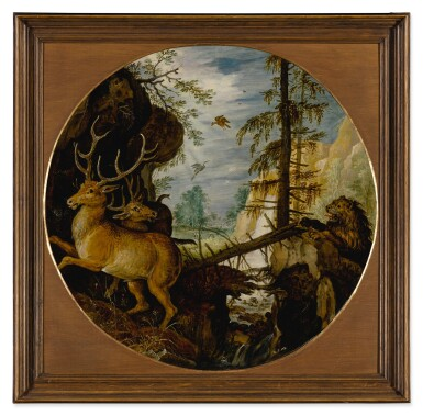 View 2. Thumbnail of Lot 520. A lion hunting two deer.