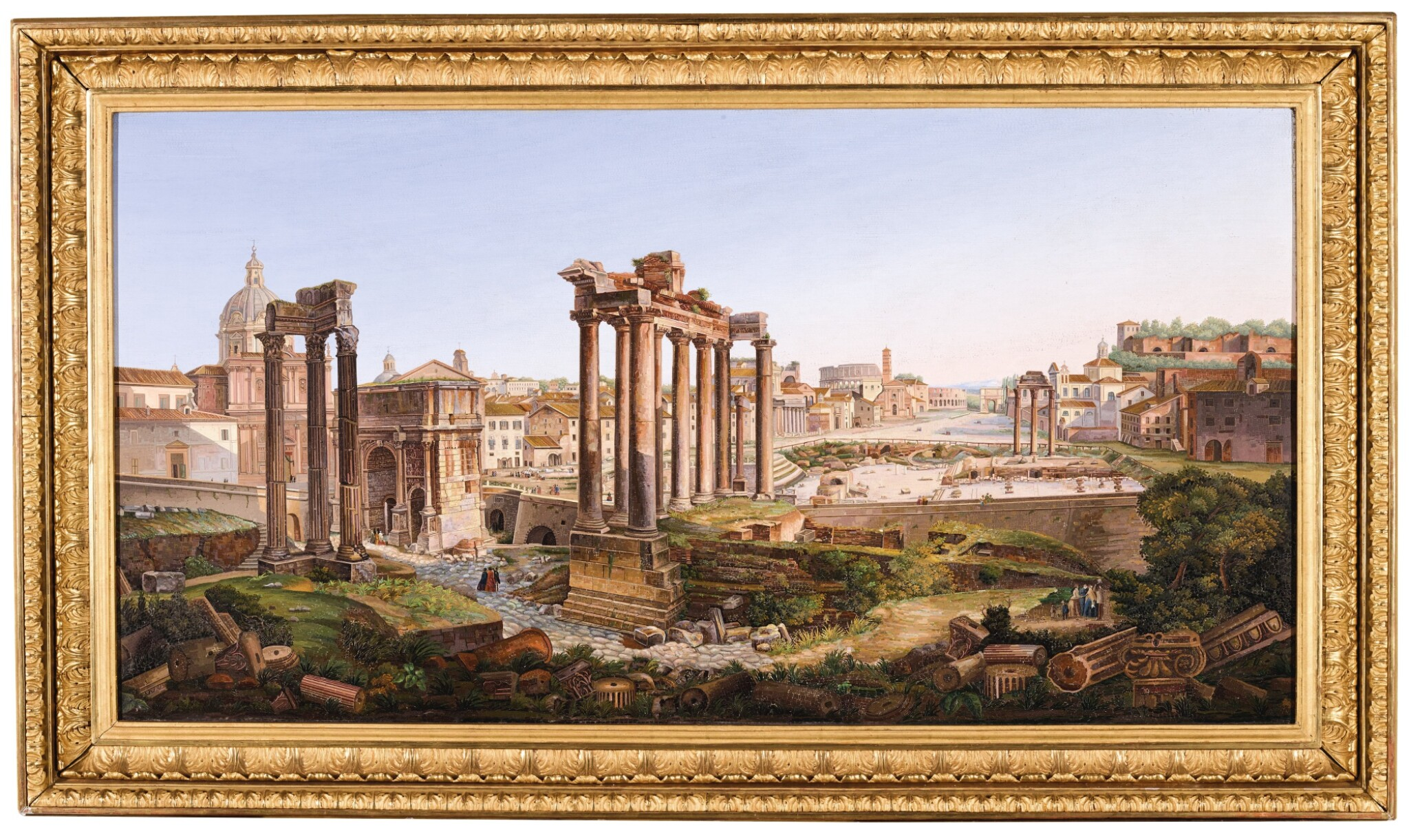 A LARGE SCALE ITALIAN MICROMOSAIC PANEL OF THE ROMAN FORUM, ROME CIRCA 1850-75, BY LUIGI A. GALLANDT