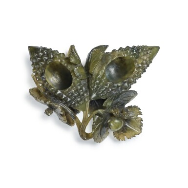 View 5. Thumbnail of Lot 43. A serpentine 'balsam pear' group, Early 20th century | 二十世紀初 蛇紋石雕癩瓜形水丞.
