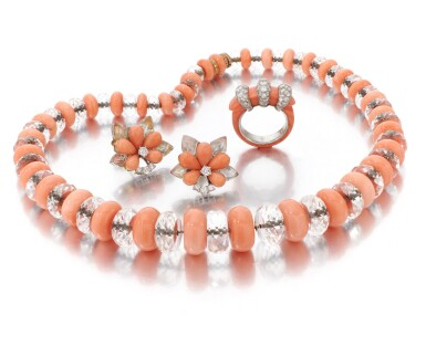 View 2. Thumbnail of Lot 70. CORAL AND DIAMOND RING, SIGNED CARTIER, CORAL AND ROCK CRYSTAL NECKLACE AND PAIR OF EARRINGS  (ANELLO IN CORALLO E DIAMANTI, FIRMATO CARTIER, COLLANA E PAIO DI ORECCHINI IN CORALLO, CRISTALLO DI ROCCA E DIAMANTI).