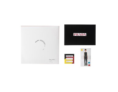 View 2. Thumbnail of Lot 46. PRADA   MAN FALL WINTER 2020 FASHION SHOW INVITE AND SEAT CARD DESIGNED BY AMO, SOUNDTRACK INSPIRATION VINYL BY FRÉDÉRIC SANCHEZ  AND SET OF FITTING PHOTOGRAPHS.