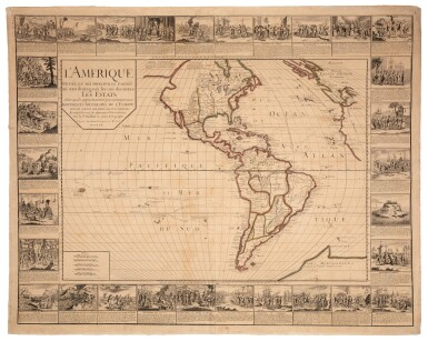 View 1. Thumbnail of Lot 56. Wall maps | A set of four French wall maps of the continents, 1752.