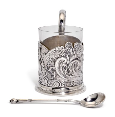 View 3. Thumbnail of Lot 236. A silver tea glass holder and a spoon, 4th Artel, Moscow, and Grachev Brothers, St Petersburg, 1908-1917.