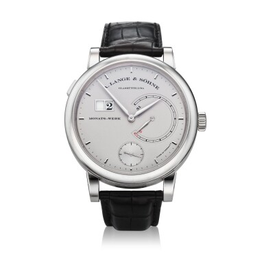 View 1. Thumbnail of Lot 293. Reference 130.025F Lange 31  A platinum wristwatch with date and power reserve indication, Circa 2010 .
