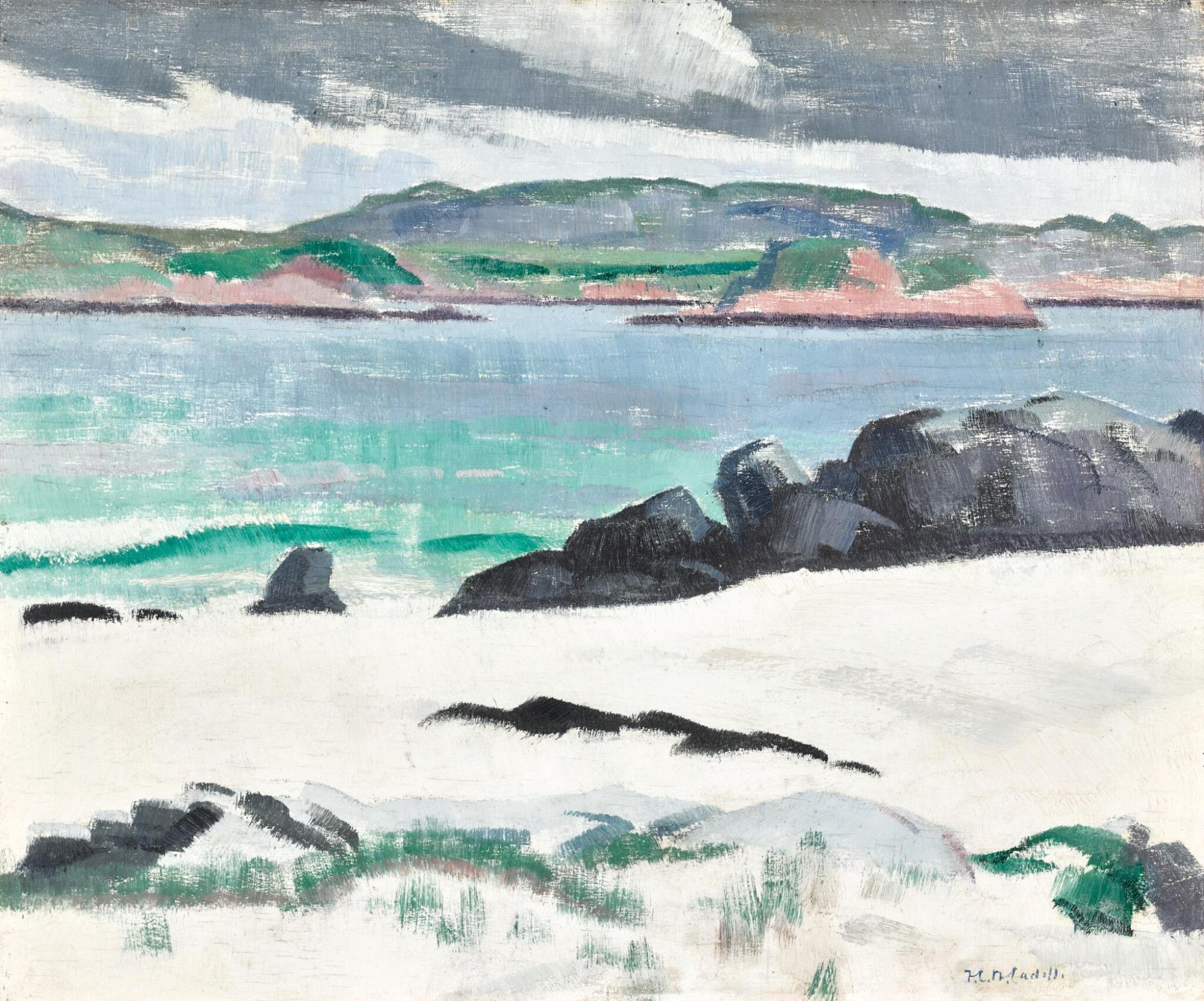 View full screen - View 1 of Lot 49. FRANCIS CAMPBELL BOILEAU CADELL, R.S.A., R.S.W.   IONA, COWS ROCK AND THE ROSS OF MULL.
