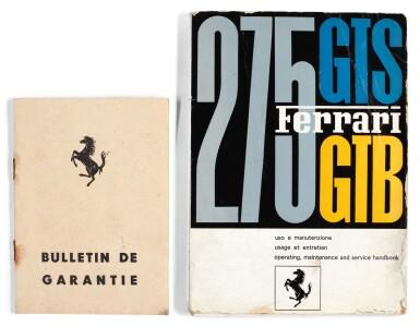 GEORGE HARRISON   Ferrari handbook and Guarantee booklet for Ferrari 275 GTB, dated 1965