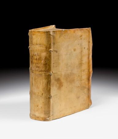 View 1. Thumbnail of Lot 49. La Théologie naturelle de Raymond Sebon. Chaudière, 1569. Vélin souple de l'époque. Edition originale..