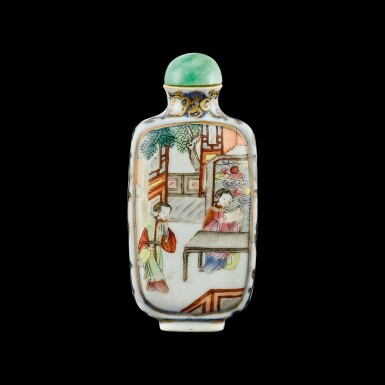 View 1. Thumbnail of Lot 1040. A famille-rose porcelain 'Romance of the West Chamber' snuff bottle Seal mark and period of Jiaqing | 清嘉慶 青花描金粉彩西廂人物圖鼻煙壺 《嘉慶年製》款.