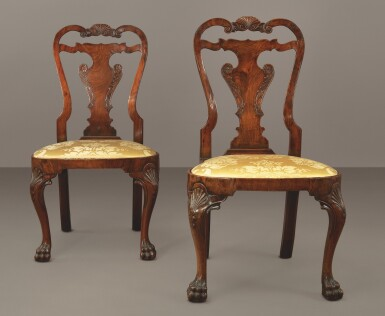 View 2. Thumbnail of Lot 506. A PAIR OF GEORGE II WALNUT SIDE CHAIRS, CIRCA 1740.