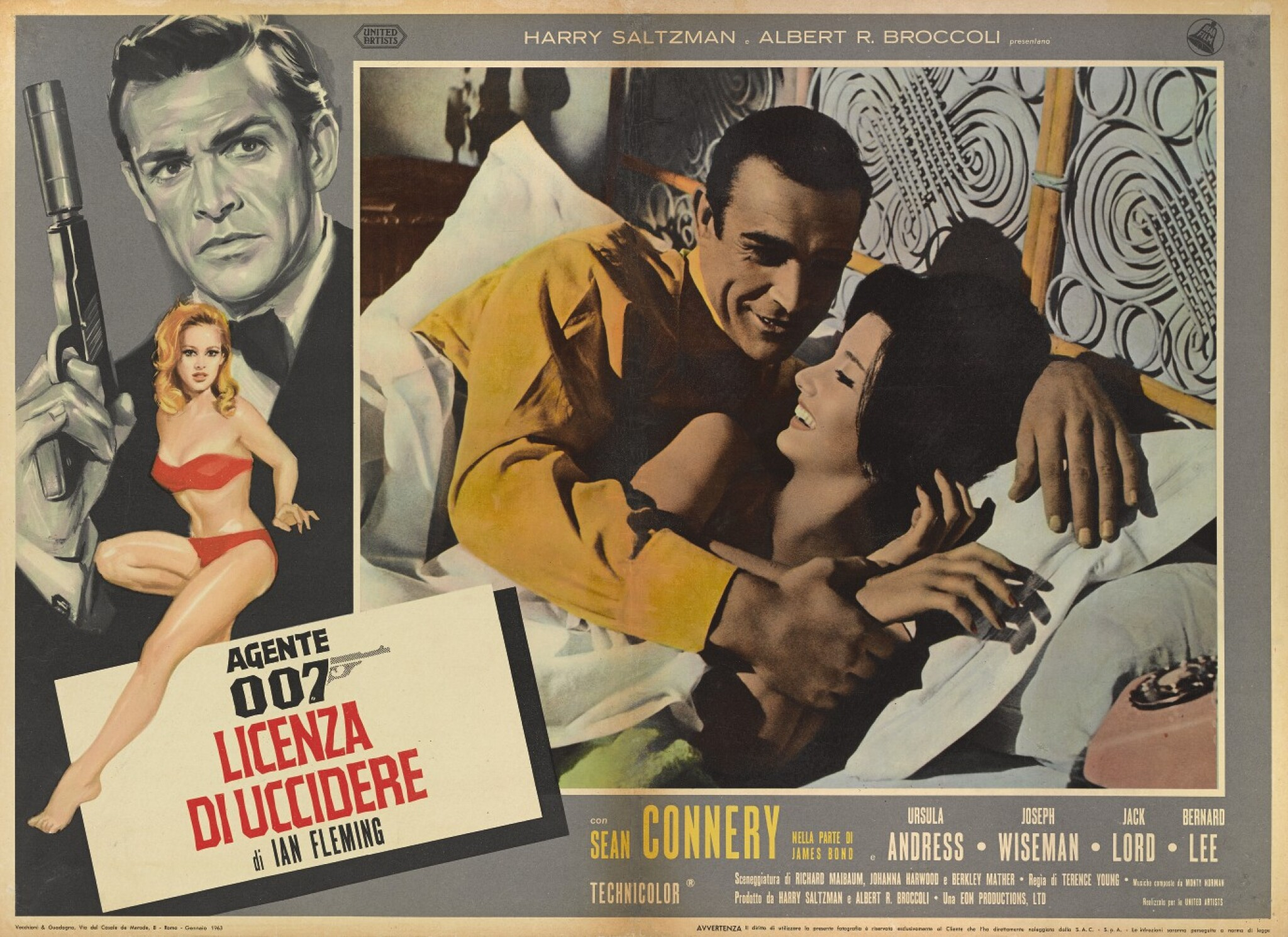 View full screen - View 1 of Lot 5. DR. NO / AGENTE 007 - LICENZA DI UCCIDERE (1962) POSTER, ITALIAN, FIRST ITALIAN RELEASE 1963.