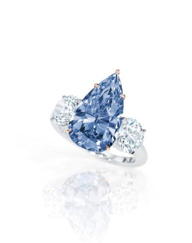 View 1. Thumbnail of Lot 1756. AN EXCEPTIONAL FANCY VIVID BLUE DIAMOND AND DIAMOND RING | 珍罕非凡 4.84卡拉 艷彩藍色 內部無瑕(IF)鑽石 配 鑽石 戒指.