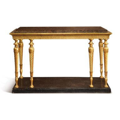 A SWEDISH GUSTAV IV CARVED GILTWOOD SIDE TABLE, EARLY 19TH CENTURY
