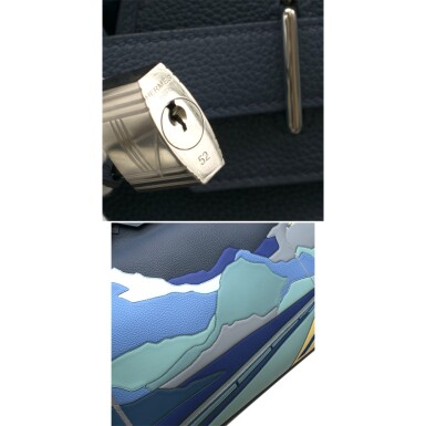 View 7. Thumbnail of Lot 108. HERMÈS   BLUE DE PRUSSE LIMITED EDITION ENDLESS ROAD BIRKIN 50 HAUTE Á COURROIERS IN TOGO, SWIFT AND CLEMENCE LEATHER WITH PALLADIUM HARDWARE, 2019.
