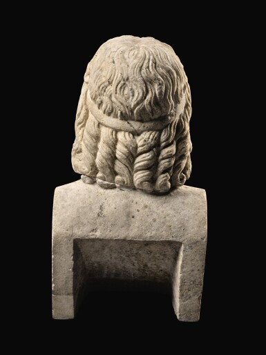 View 10. Thumbnail of Lot 32. A ROMAN MARBLE HEAD OF SARAPIS, CIRCA 2ND CENTURY A.D., ON 19TH CENTURY HERM SHOULDERS.
