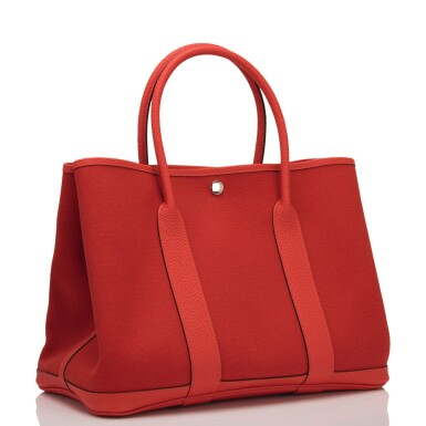 Hermès Rouge Tomate and Capucine Garden Party 36cm of Canvas and Country Cowhide with Palladium Hardware