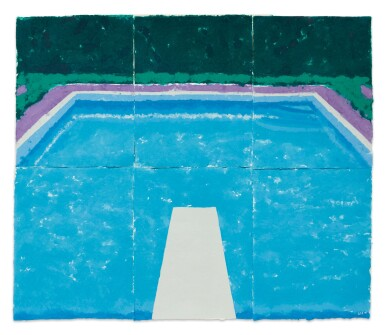 DAVID HOCKNEY | POOL ON A CLOUDY DAY WITH RAIN (PAPER POOL 22)