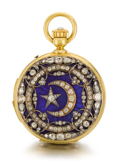 View 2. Thumbnail of Lot 26. SWISS  [ 瑞士製]    A GOLD AND ENAMEL HUNTING CASED MINUTE REPEATING KEYLESS LEVER WATCH WITH AMERICAN EAGLE AND CRESCENT STAR MOTIFS  CIRCA 1865, NO. 17738  [ 黃金畫琺瑯三問懷錶飾美國鷹及星月主題圖案,年份約1865,編號17738].