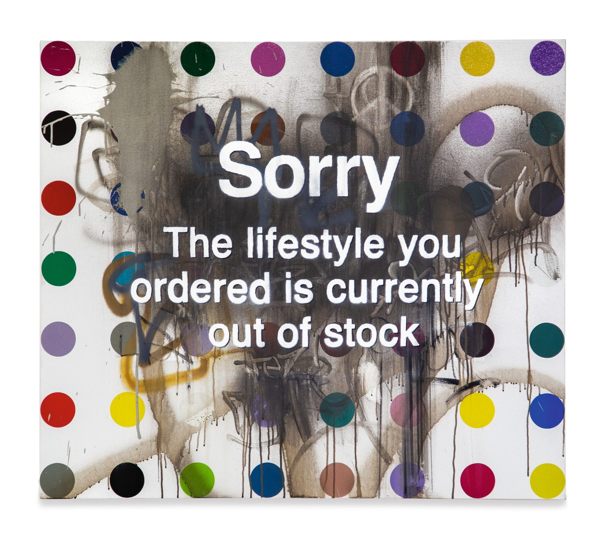 View 1 of Lot 46. BANKSY (DEFACED HIRST) | SORRY THE LIFESTYLE YOU ORDERED IS CURRENTLY OUT OF STOCK.