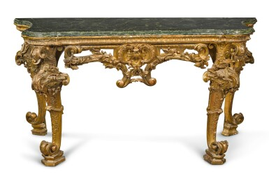 View 1. Thumbnail of Lot 17. AN ITALIAN CARVED GILTWOOD CONSOLE TABLE, GENOESE, CIRCA 1730/40.