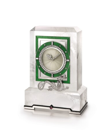 View 1. Thumbnail of Lot 1661. Cartier | Rock Crystal, Enamel, Diamond and Hardstone Desk Clock | 卡地亞 | 白水晶, 琺琅彩 配 鑽石 及 硬石 座鐘.
