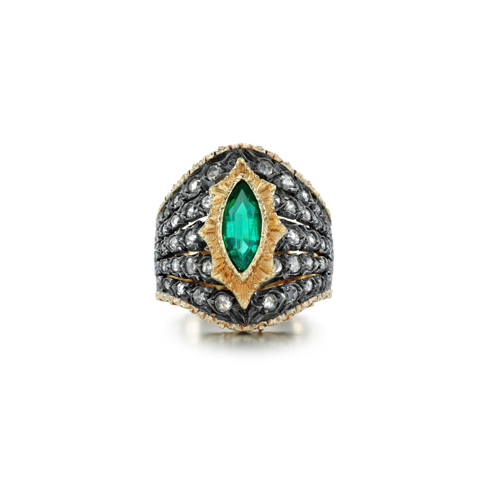 View full screen - View 1 of Lot 64. Mario Buccellati   Emerald and diamond ring.