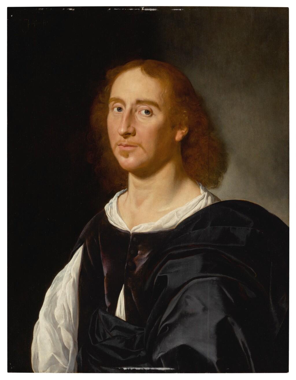 JAN VAN BIJLERT   PORTRAIT OF A GENTLEMAN WEARING A PURPLE DOUBLET AND A WHITE SHIRT