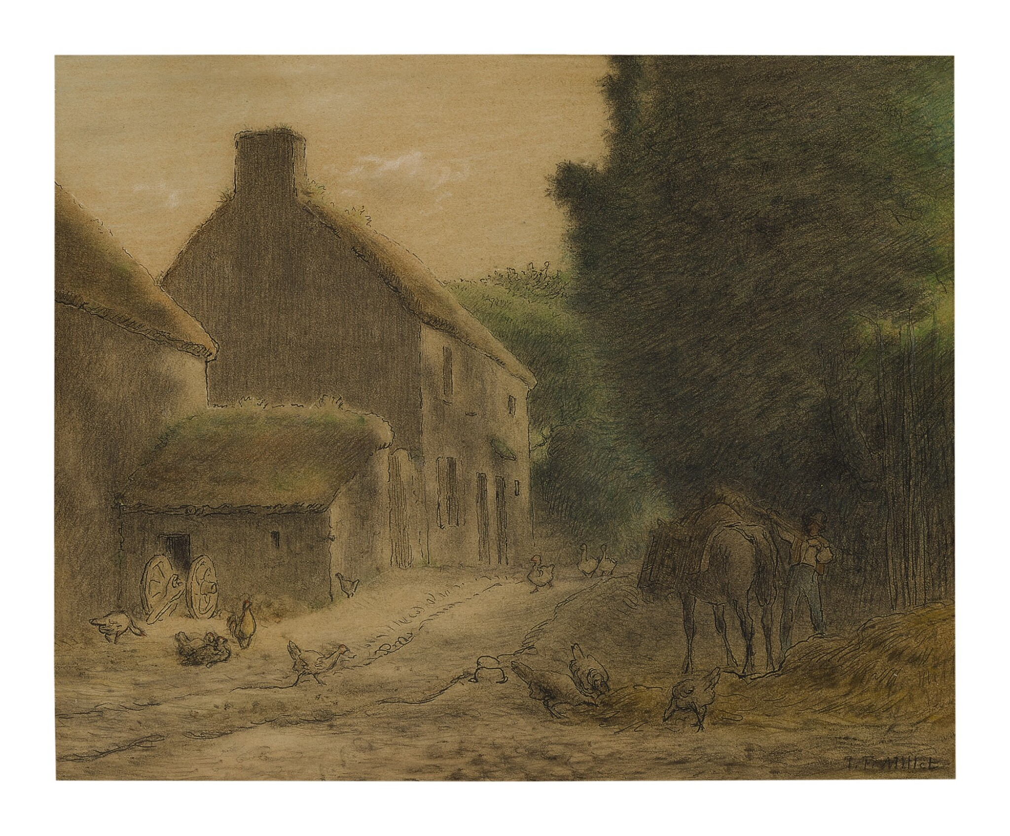 View full screen - View 1 of Lot 15. JEAN-FRANÇOIS MILLET | FARMHOUSE AT GRUCHY.