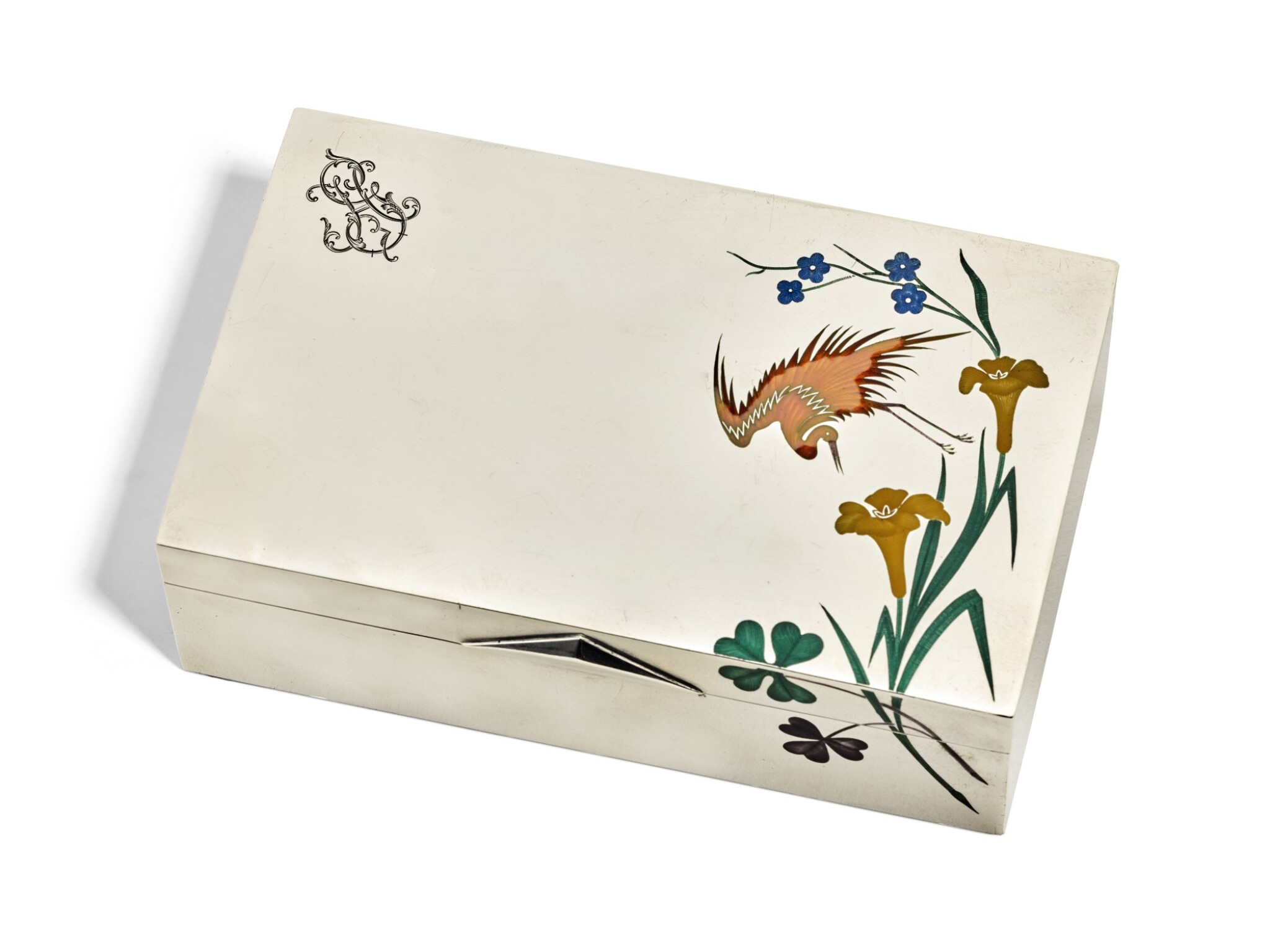 View full screen - View 1 of Lot 138. A RUSSIAN SILVER AND ENAMEL CIGAR BOX, GRACHEV BROTHERS, ST PETERSBURG, CIRCA 1880.