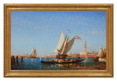 View 2. Thumbnail of Lot 28. FÉLIX ZIEM | BOATS ON THE BACINO SAN MARCO, WITH THE PUNTA DELLA DOGANA, SANTA MARIA DELLA SALUTE, PALAZZO DUCALE AND THE CAMPANILE IN THE DISTANCE, VENICE.