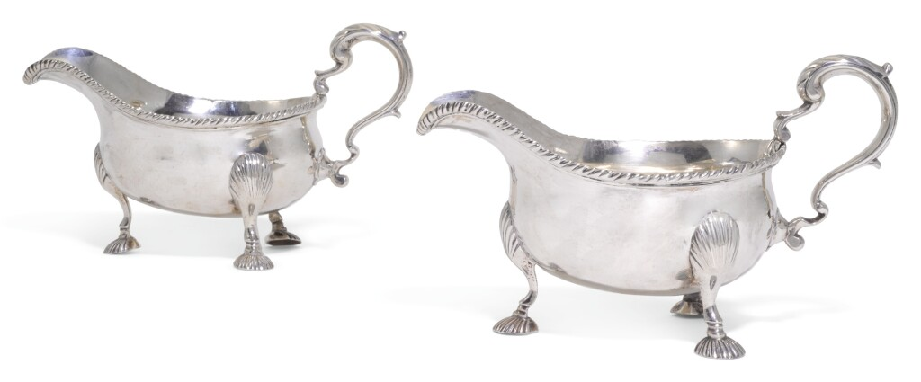A PAIR OF GEORGE II SILVER SAUCEBOATS, MAKER'S MARK W.(?), LONDON, 1755