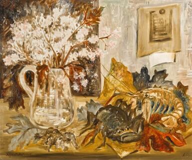 View 1. Thumbnail of Lot 126. Nature Morte, Crabe et Fleurs.