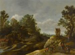 A landscape with peasants resting by a watermill