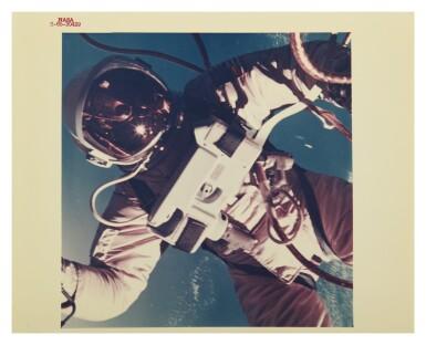 "[GEMINI 4] FIRST AMERICAN SPACEWALK. VINTAGE NASA ""RED NUMBER"" PHOTOGRAPH, 3 JUNE 1965."