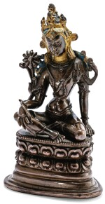 STATUETTE DE BODHISATTVA EN ALLIAGE DE CUIVRE TIBET, STYLE PALA, CA. XVIIIE SIÈCLE | 西藏 約十八世紀 銅合金帕拉式菩薩坐像 | A copper-alloy Pala style figure of Bodhisattva, Tibet, ca. 18th century