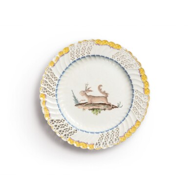 A MEISSEN RETICULATED DESSERT PLATE FROM THE 'JAPANESE SERVICE' ORDERED  BY FREDERICK THE GREAT CIRCA 1763