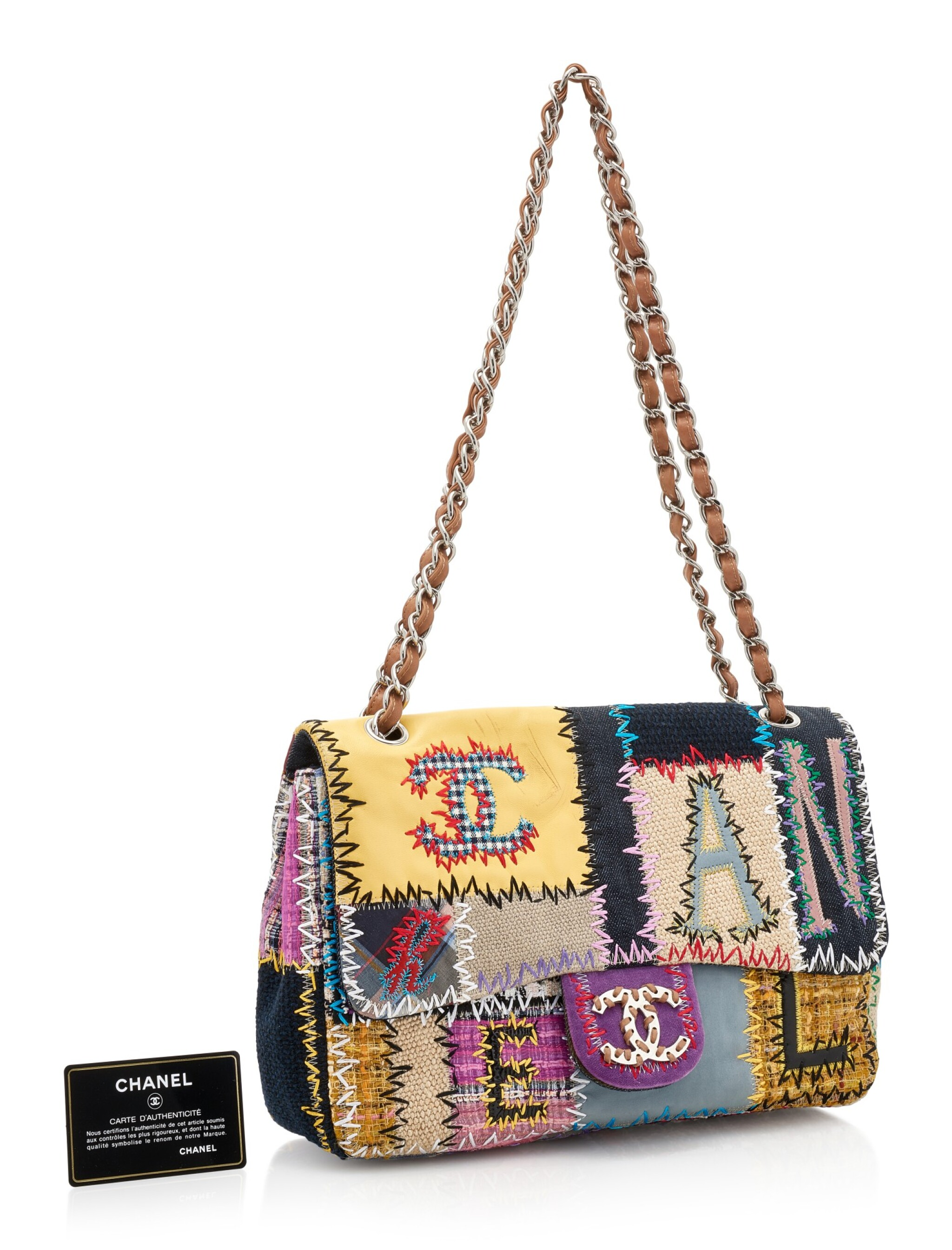 View full screen - View 1 of Lot 164. MULTICOLOR PATCHWORK WITH SILVER-TONE METAL CLASSIC SHOULDER BAG, CHANEL.