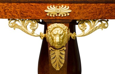 View 3. Thumbnail of Lot 57. An Italian gilt-bronze mounted thuyawood centre table, Milan, circa 1820, the mounts attributed to Luigi and Antonio Manfredini.