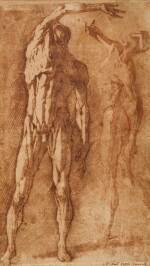 ANDREA BOSCOLI  |  TWO STUDIES OF A FLAYED MALE NUDE, AFTER PIETRO FRANCAVILLA
