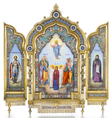 View 1. Thumbnail of Lot 502. A SILVER-GILT CLOISONNÉ AND PICTORIAL ENAMEL TRIPTYCH ICON, KHLEBNIKOV, MOSCOW, 1899-1908.