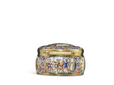 View 4. Thumbnail of Lot 1. An enamel snuff box with jewelled gold mounts, possibly Southern German, dated 1671.
