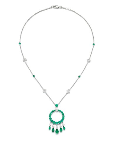 View 2. Thumbnail of Lot 298. GRAFF   EMERALD AND DIAMOND NECKLACE, 'GYPSY'.
