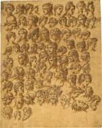ROMAN SCHOOL, 16TH CENTURY | STUDIES OF HEADS OF LADIES, WARRIORS AND GARGOYLES