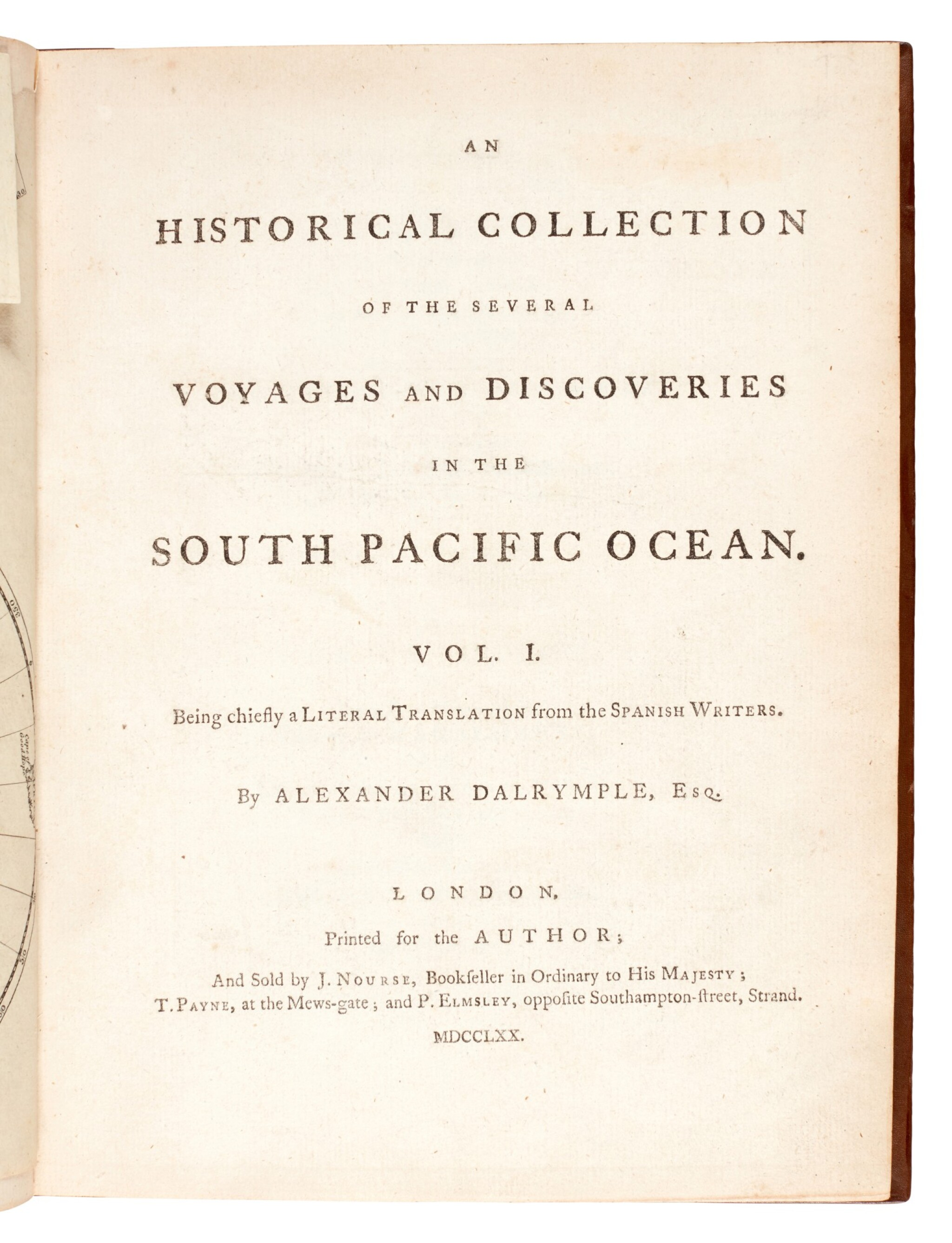 View full screen - View 1 of Lot 43. DALRYMPLE   An historical collection of the several voyages and discoveries in the South Pacific Ocean, 1770-1771.