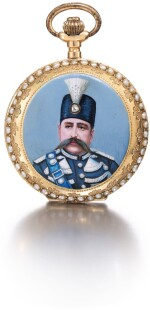 A FINE MINIATURE GOLD AND ENAMELLED HUNTING CASED KEYLESS WATCH WITH A PORTRAIT OF MUZAFFAR AL-DIN SHAH QAJAR, TURKEY, CONSTANTINOPLE, LATE 19TH CENTURY