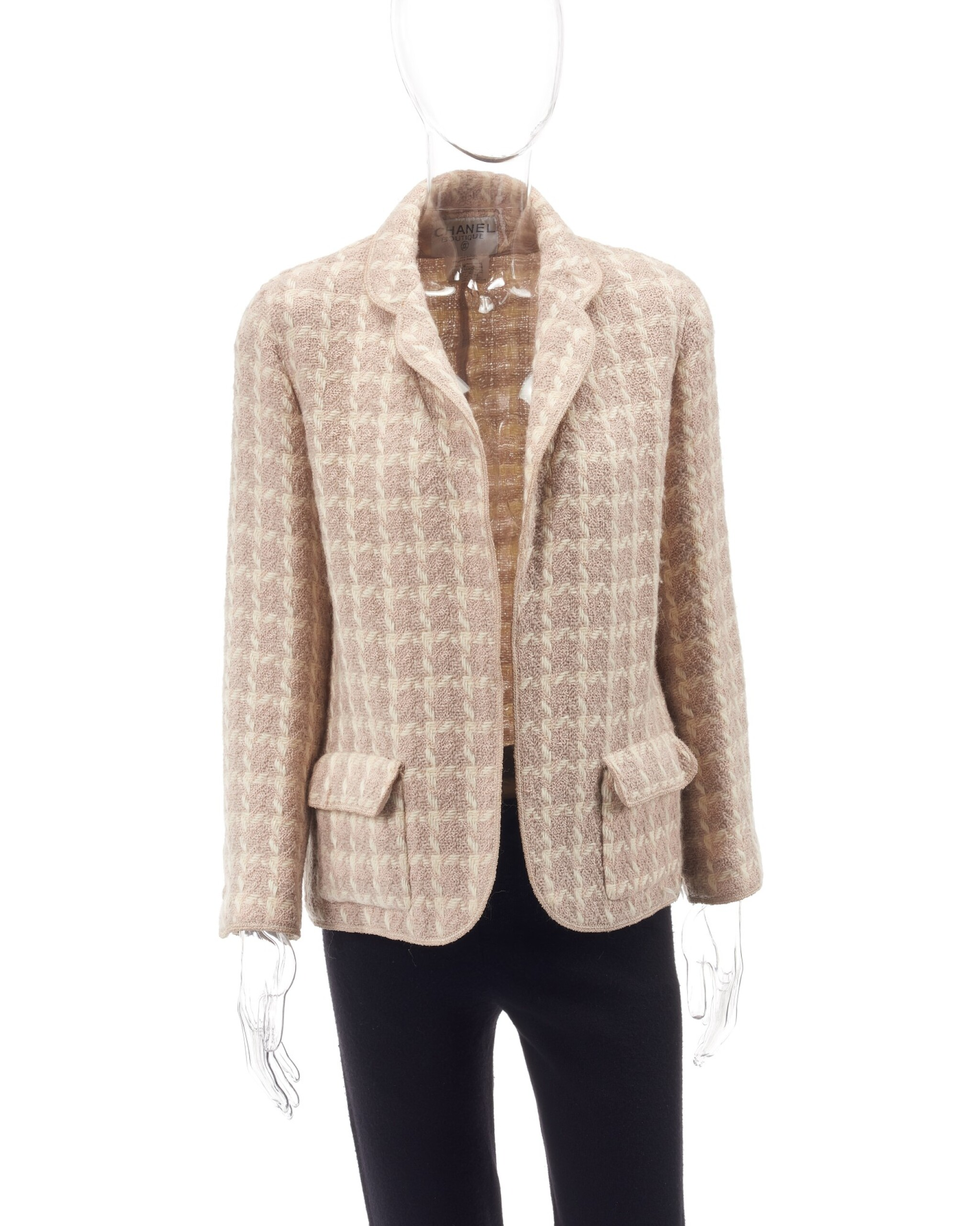 Cream, ivory and powder pink knitted wool jacket