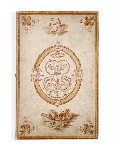 View 1. Thumbnail of Lot 41. [DROUAIS]. Fête de madame Drouais. Manuscrit vers 1773-1774. Reliure en soie peinte et brodée..