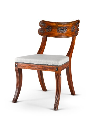 View 4. Thumbnail of Lot 158. A set of twelve Regency mahogany and ebony 'Klismos' dining chairs, circa 1815, after a design by Thomas Hope.